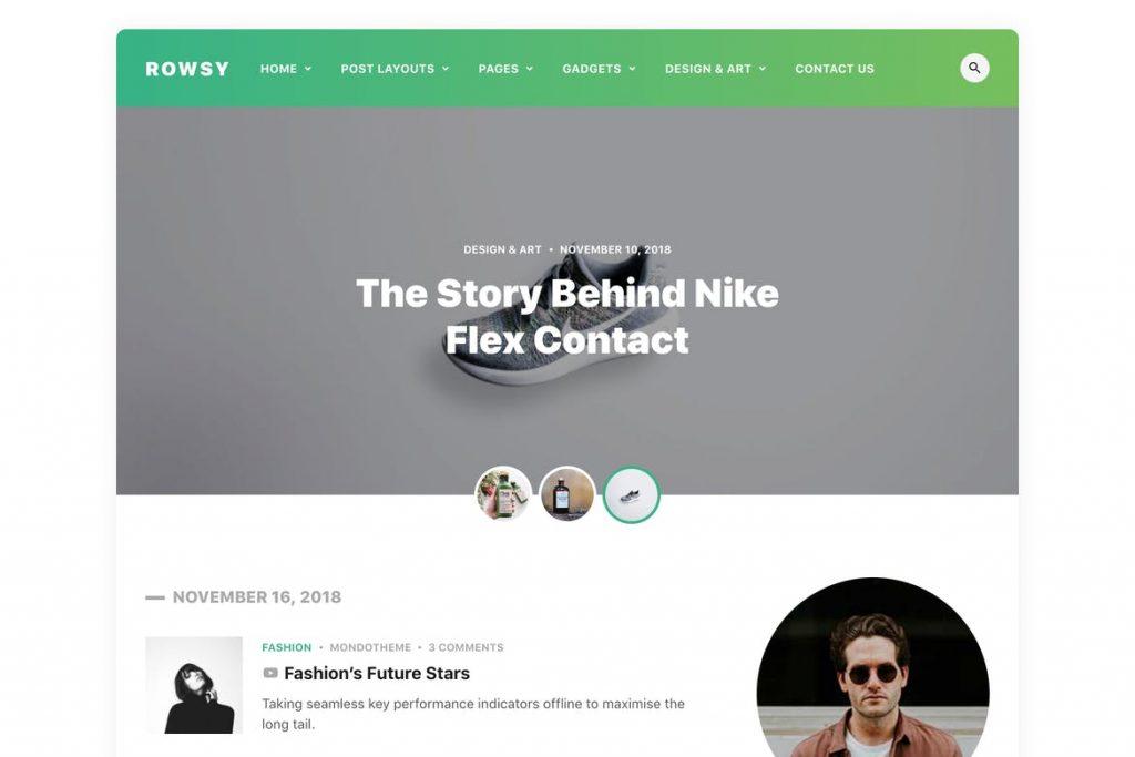 Theme blog cá nhân đẹp Rowsy